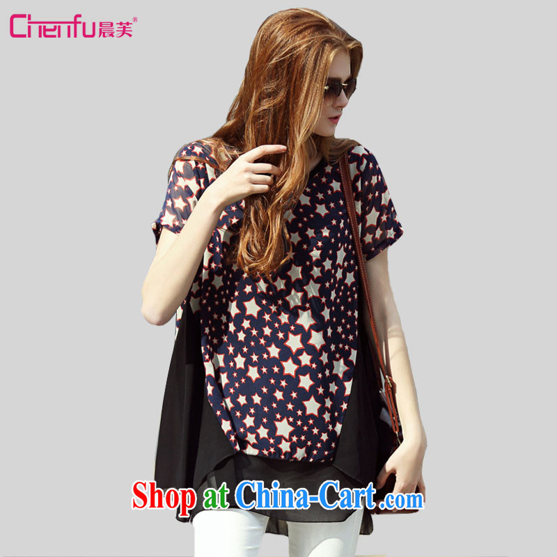 Morning would be 2015 summer New, and indeed increase, women loose in Europe and 5 star pattern short-sleeved T-shirt thick mm knocked color stitching, long snow T woven shirts stars stamp 4XL