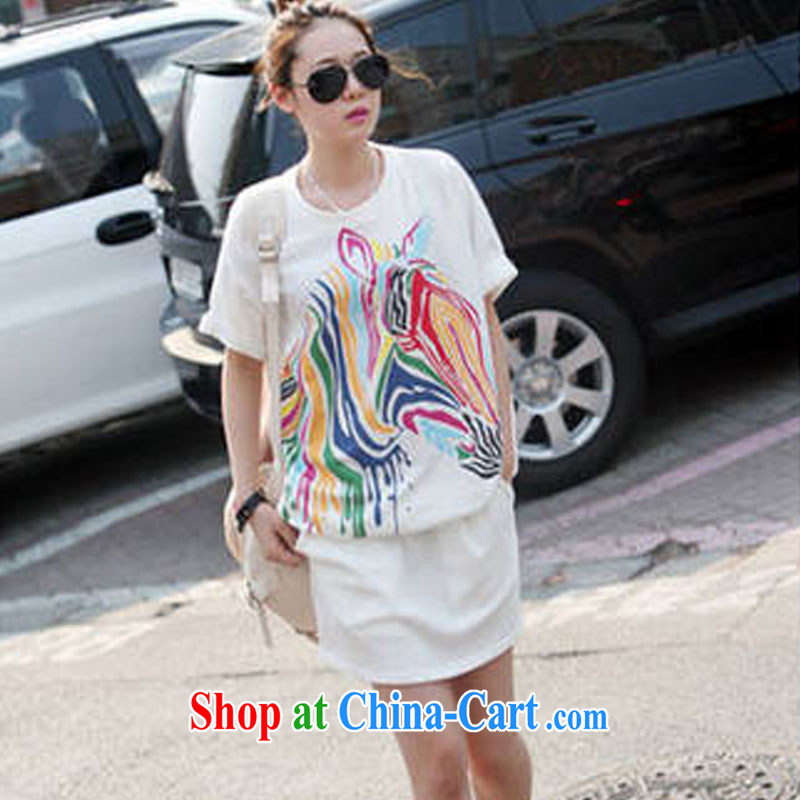 The 618 largest urged South Korea as soon as possible version short-sleeved larger female sport and leisure zebra stripes loose round-collar package arm fashion dresses 1519 YYY YZ white XXL