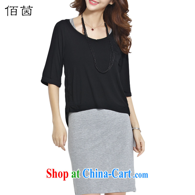 Bai Yan 2015 summer dress two-piece V collar 5 in cuff stitching snow T woven shirts skirt package package mail, black, gray