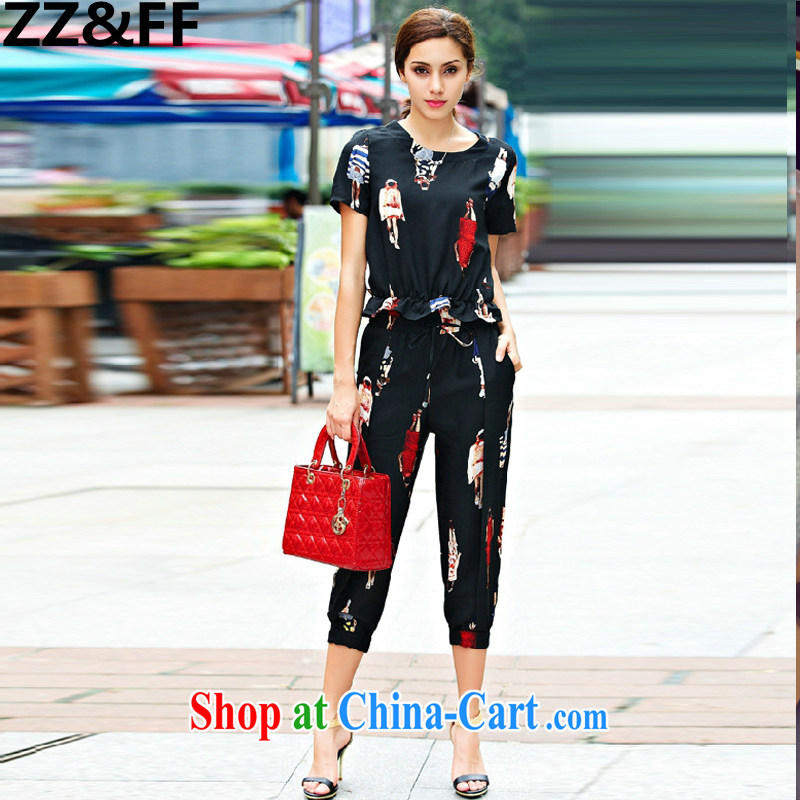 ZZ _FF summer 2015 new larger female thick MM graphics thin cotton Ma figures stamp Leisure package two-piece black XXXXXL _180 - 200 _ jack