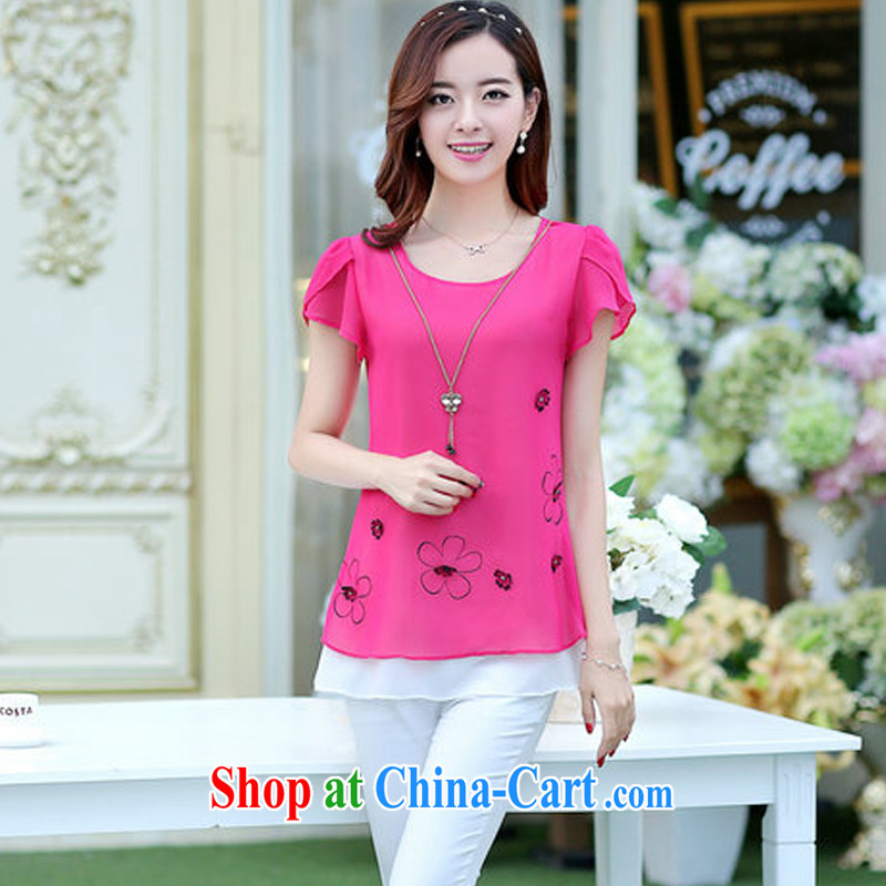 100 million with income-generating the Code women mm thick summer T-shirt thick sister short-sleeved snow woven shirts female T shirts loose the fat increase code 200 catties of red XXXL