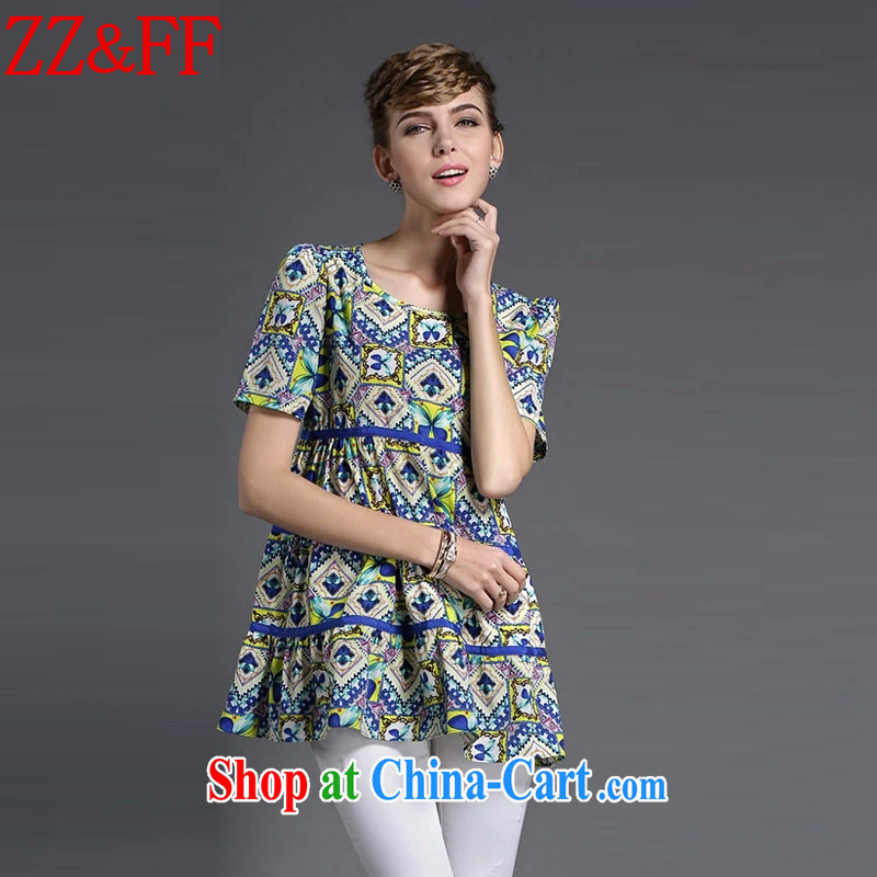 ZZ _FF 2015 summer new, larger women are seen wearing short-sleeved stamp floral snow woven shirts female XFS 8638 Map Color XXXXL