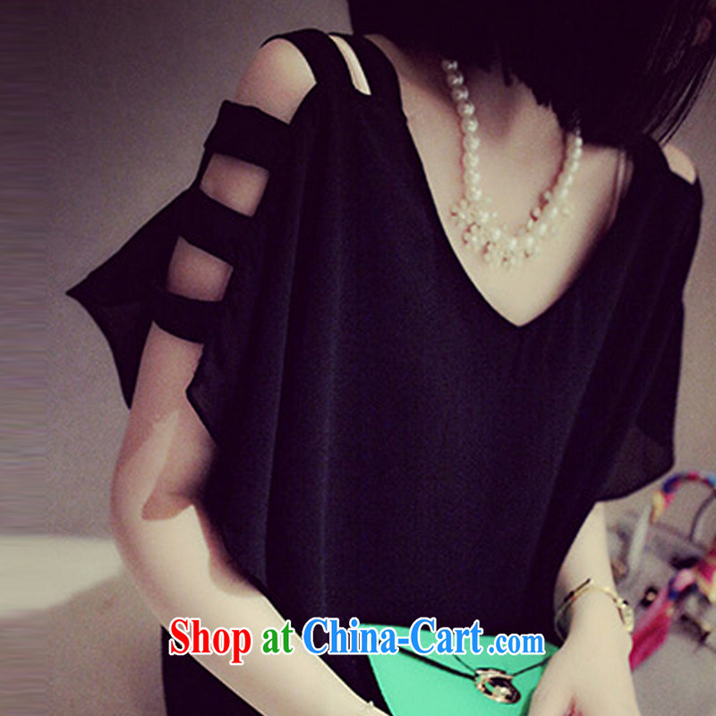 100 million new larger female thick MM summer 2015 new Snow woven shirts Korean video thin thick sister a black skirt XXXXL
