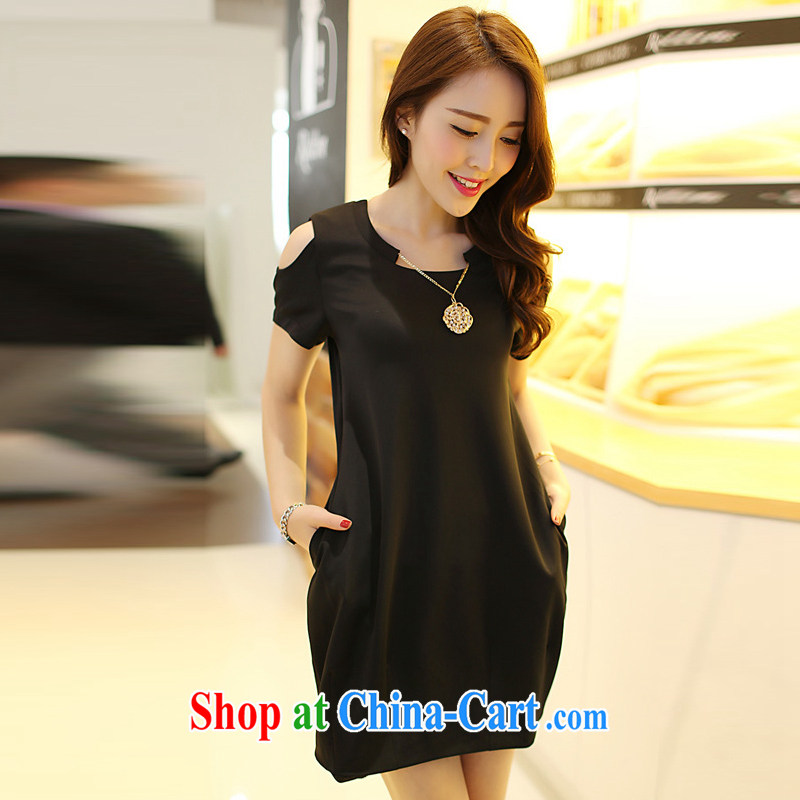 100 million new 2015 mm thick summer is the XL female Korean version of the new graphics thin beauty thick sister dresses black XXXXL