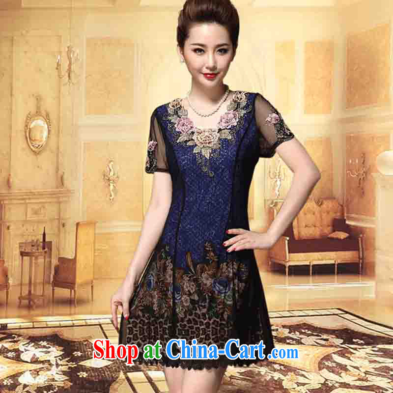 And Cisco's 2015 middle-aged women, older style short-sleeved beauty graphics thin mother with dresses snow woven embroidery blue 6 XL