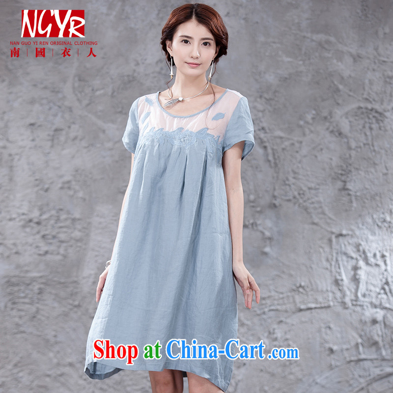 Xiao Nan Guo Yi People's Congress, ladies short-sleeved embroidery European root yarn thin cotton the dresses girls summer arts solid-colored short skirt blue M _chest of CM 108 _