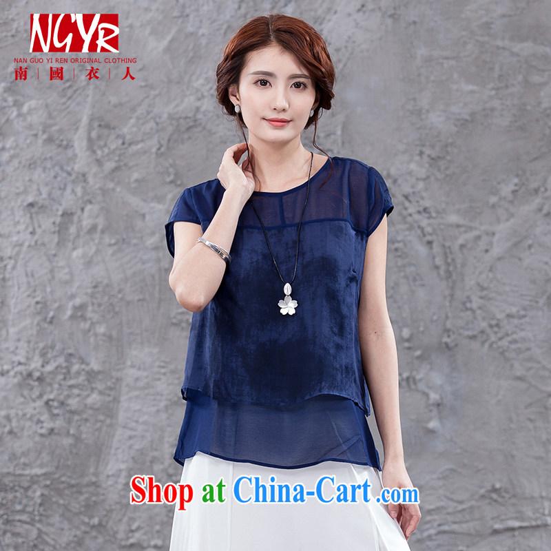 Xiao Nan Guo Yi, drunk the dumping smoke code female arts summer short-sleeve T-shirt short sauna silk shirt loose blue XL _chest of CM 104 _