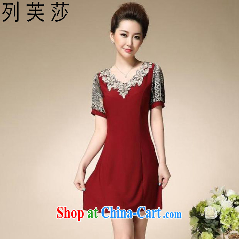 The girl in her old lady dresses stylish MOM summer load the code embroidery cultivating short-sleeved skirt 6012 red XXXXL