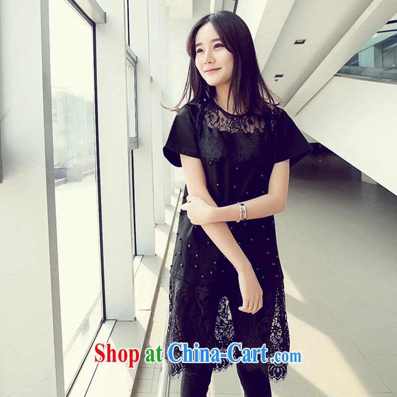 100 million new summer 2015 new thick mm and indeed increase, female biological empty nails Pearl lace, with Korean version, long dresses black XXXXL