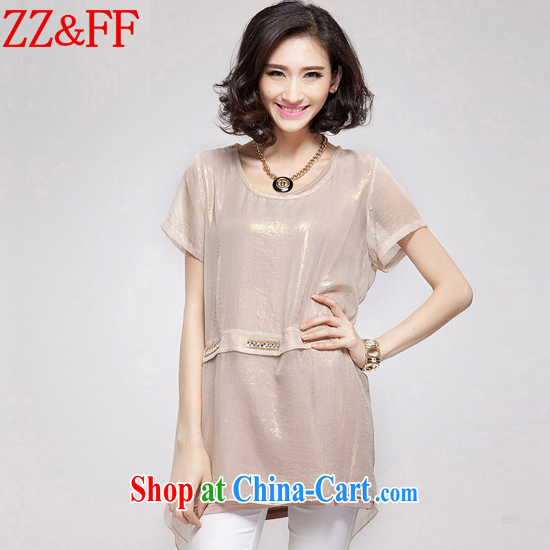 ZZ &FF 2015 summer new, larger female thick MM, long loose leave two snow woven shirts female XFS 8058 apricot XXXXL
