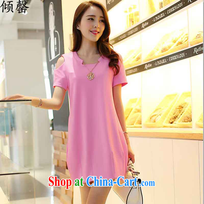 Dumping, summer 2015 new larger women mm thick loose the fat increase graphics thin beauty thick sister short-sleeve dresses pink XXXXL