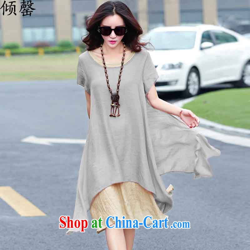 Dumping, summer 2015 new Korean version the Code women mm thick loose video thin literary cotton Ma short-sleeved dresses gray XXL