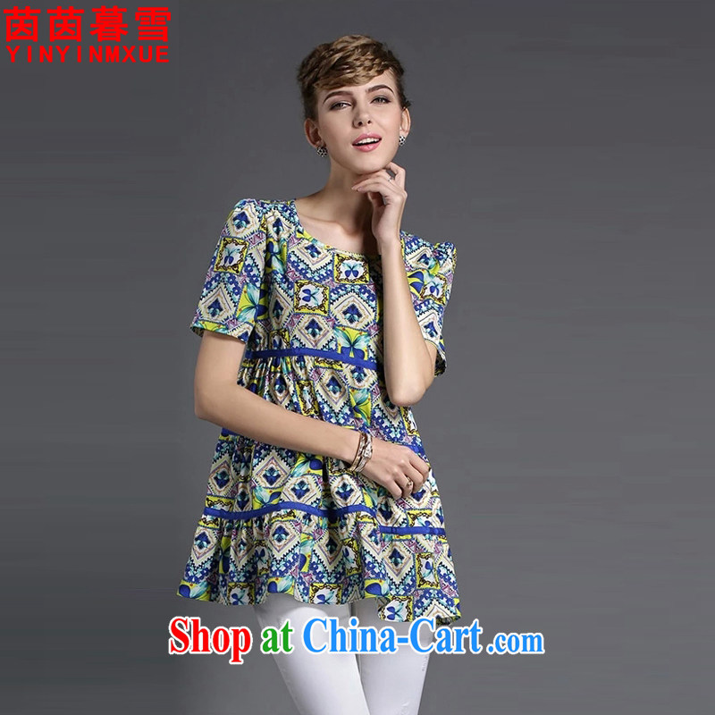 Yan Yan and snow 2015 summer new, larger women are seen wearing short-sleeved stamp snow woven shirts female XFS 8638 Map Color 4 XL