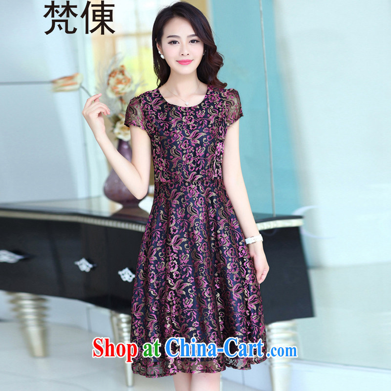 Van Gogh 倲 2015 summer new women beauty with large upscale silk lace short-sleeved dresses summer XF 22 photo color XXXL