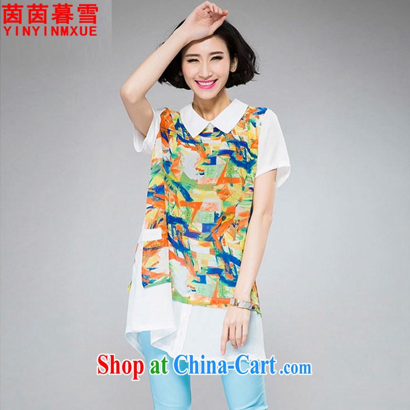 Athena Chu Yan and snow 2015 summer new, larger female shirt collar stamp beauty snow woven shirts shirt female XFS 8066 orange-red 4 XL