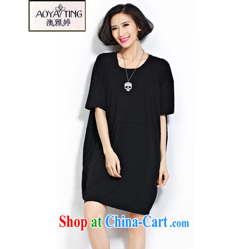 o Ya-ting 2015 New, and indeed increase, female summer thick girls with generous graphics thin leisure stitching T-shirt black are Code recommends that you 100 - 240 jack