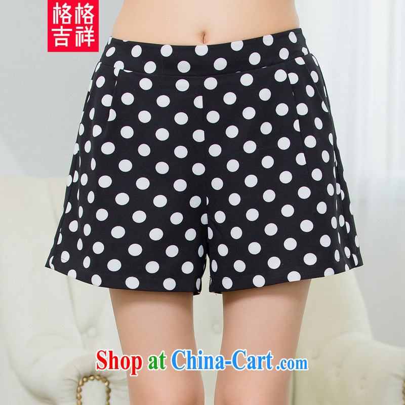 Huan Zhu Ge Ge Ge 2015 and indeed increase, female summer new, mm thick beauty graphics thin wave point stamp Elastic waist casual female shorts X 5526 black 4XL
