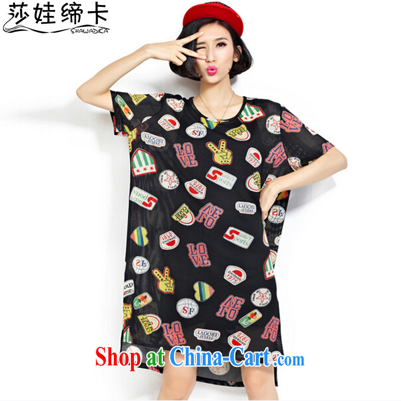 She concluded her card thick girls with graphics thin, summer, the girl with thick sister summer dresses 2015 new fat girl large code clothing thick mm Korean liberal black are code