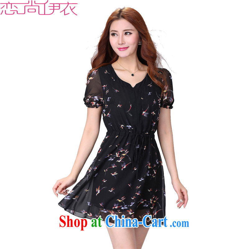 The King, fancy dress 2015 new thick sister larger female birds stamp snow woven dresses summer and graphics thin skirts mm thick black 6 XL approximately 200 - 220 jack