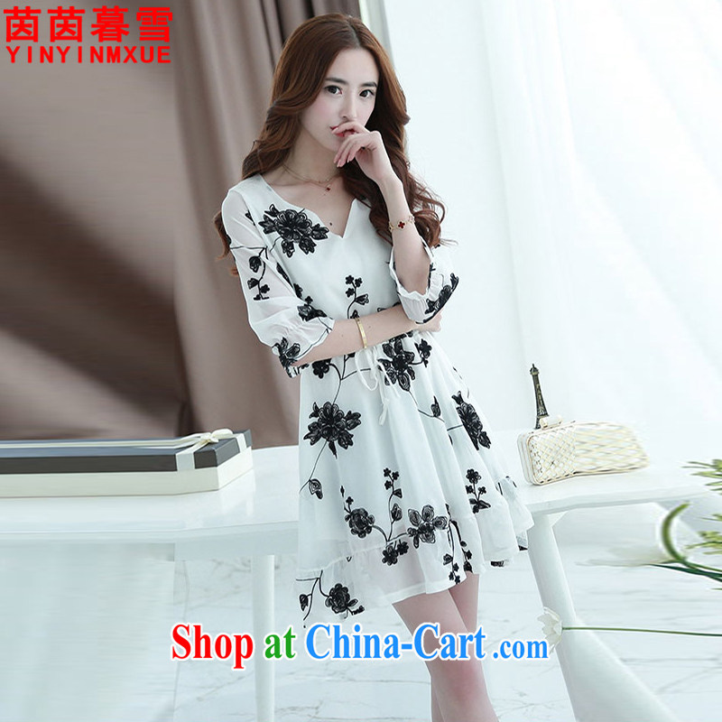 Yan Yan and snow 2015 summer new, larger female thick MM stamp beauty dresses female LYQ 5168 white 5 XL