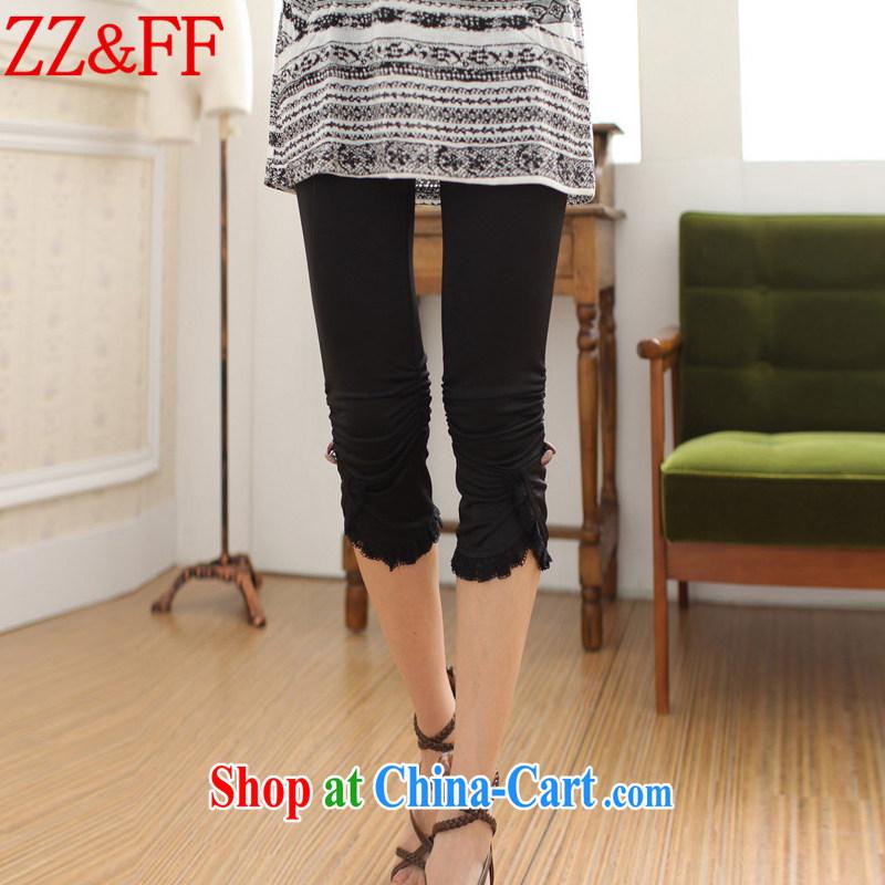 ZZ _FF 2015 summer new, larger female 7 pants solid Beauty Salon female KZ 1853 black XXXXL