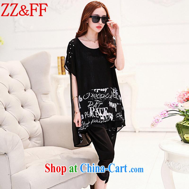 ZZ &FF 2015 summer new, larger female, long, cultivating short-sleeve and trouser press kit female DX 9106 black XXXL