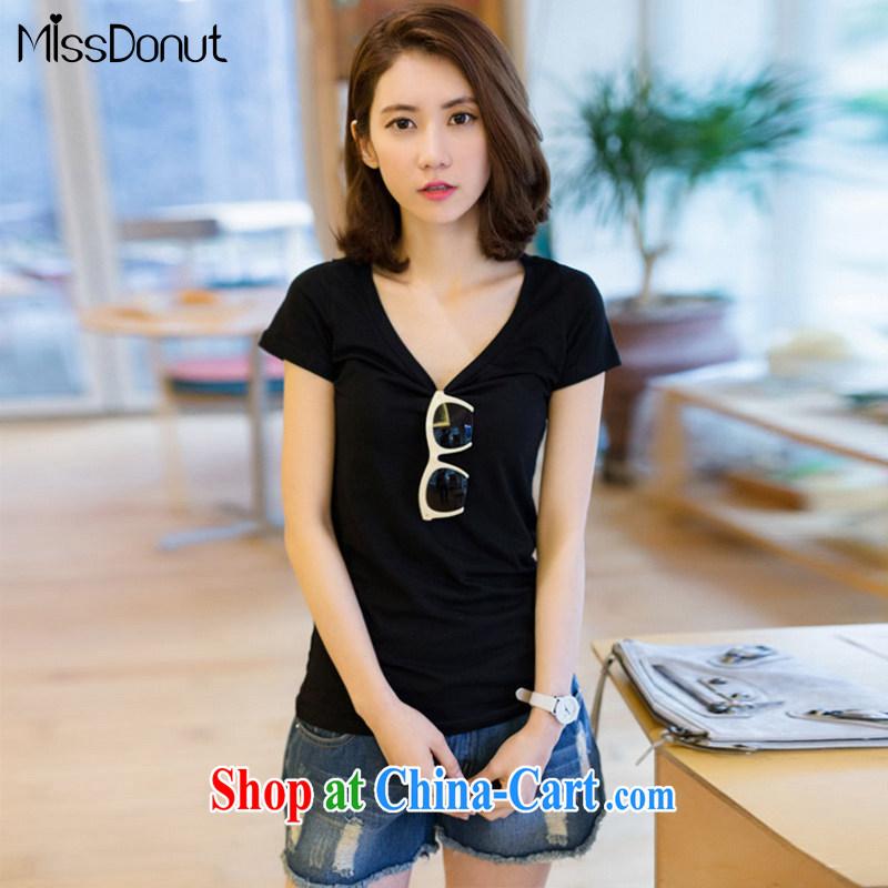MissDonut XL ladies' short-sleeve T-shirt 2015 summer edition won on 200 mm jack video thin, elastic, cotton T-shirt T-shirt Black Large Number 3 XL