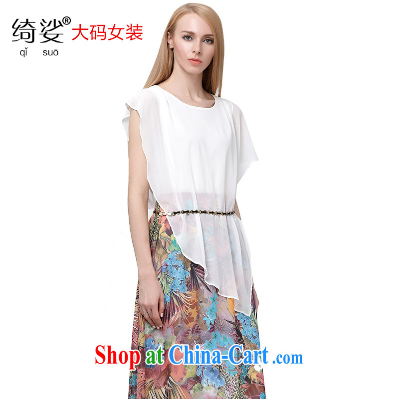 cheer for summer 2015 new products, female Bohemia fancy false 2 graphics thin short-sleeved suits skirts 2806 white 5 XL