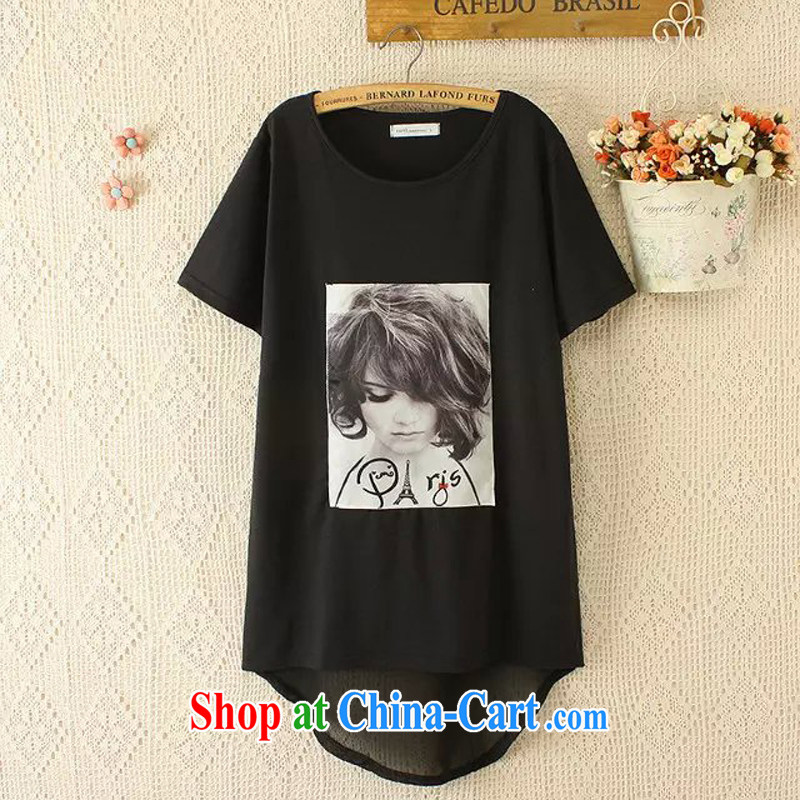 The 2015 is indeed increasing, female fat mm summer Europe trade Korean T-shirt snow woven shirts stamp King code 200 Jack ryt black XL