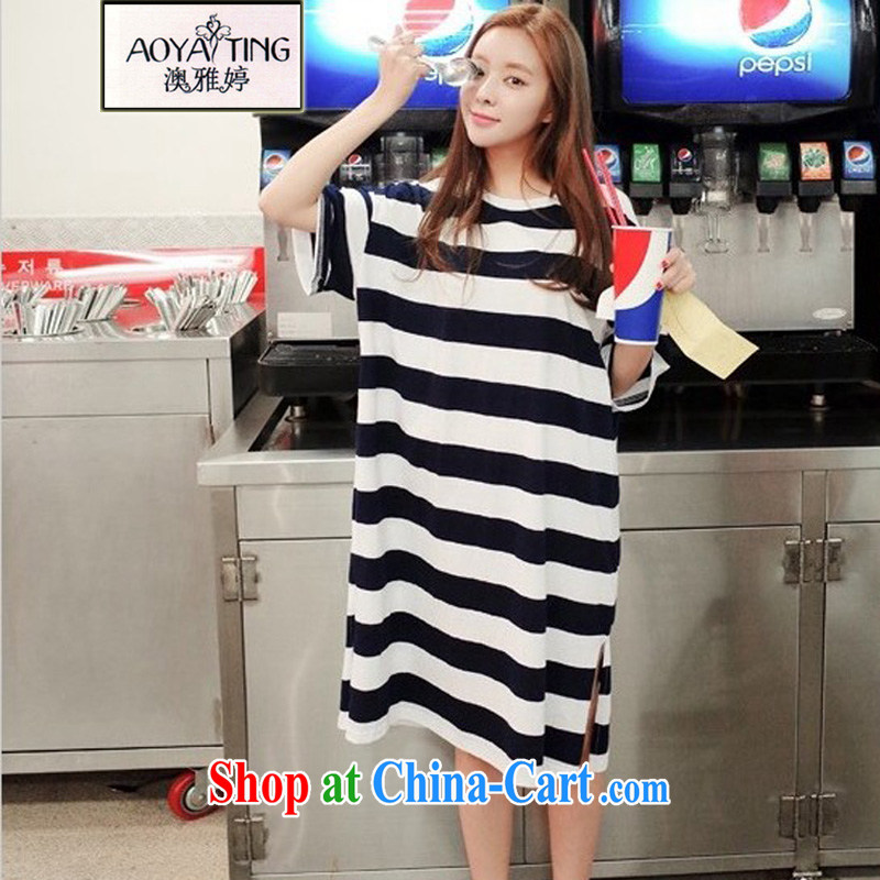 o Ya-ting 2015 New, and indeed increase, female summer thick mm video thin Mok, casual dress, blue and white stripes are Code recommends that you 100 - 180 jack