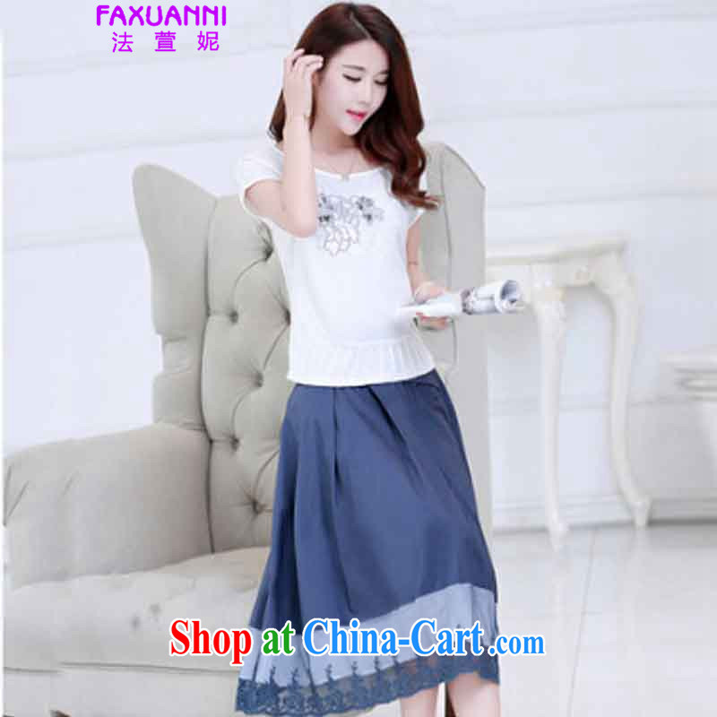 The Xuan Connie 2015 short-sleeve summer long skirt Art Nouveau two-piece dresses, long embroidery larger graphics thin Kit skirt blue are code