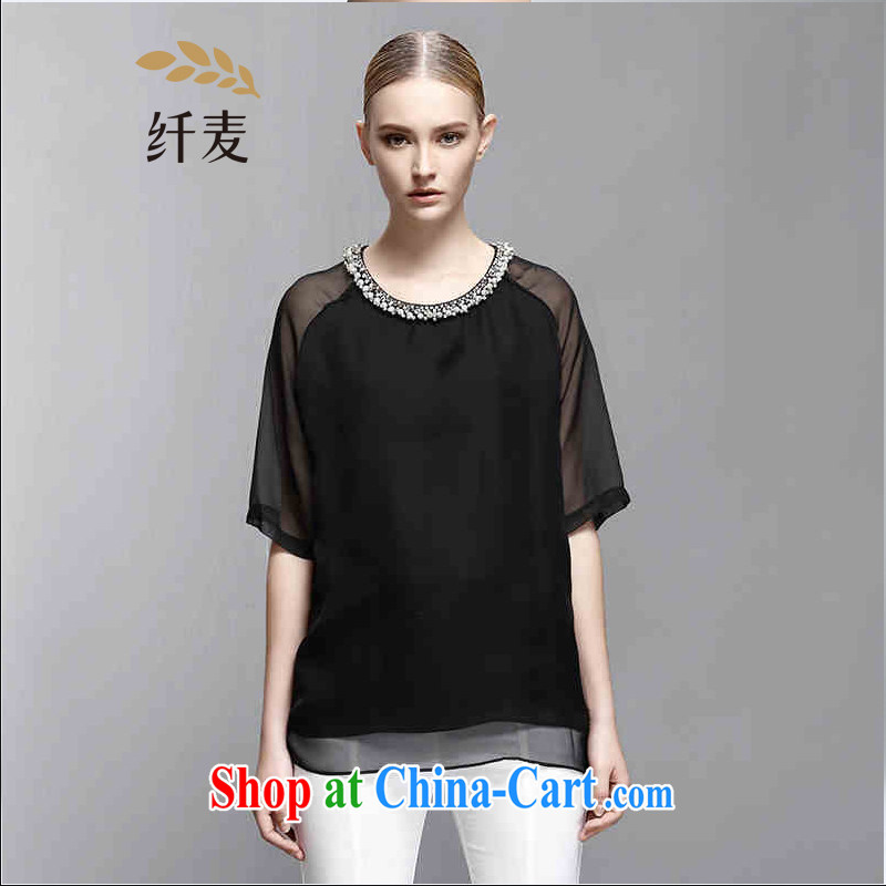The wheat high-end large, female 2015 summer new thick mm silk cuff in fresh female T pension 852362346 black 6 XL