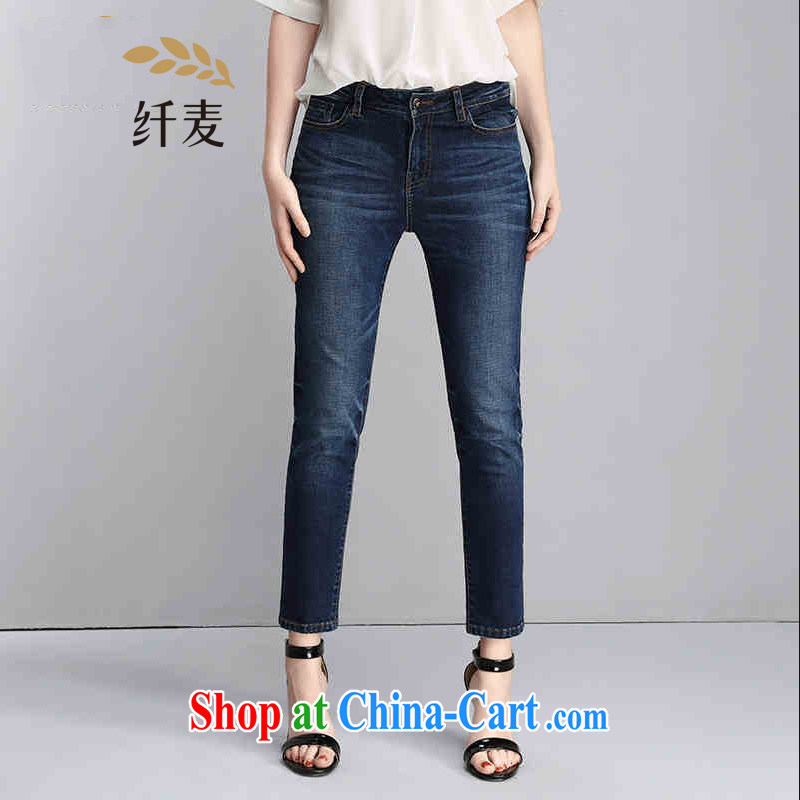 The wheat high-end large, female 2015 summer new centers in Europe and MM 9 beauty jeans 852322784 blue 6 XL