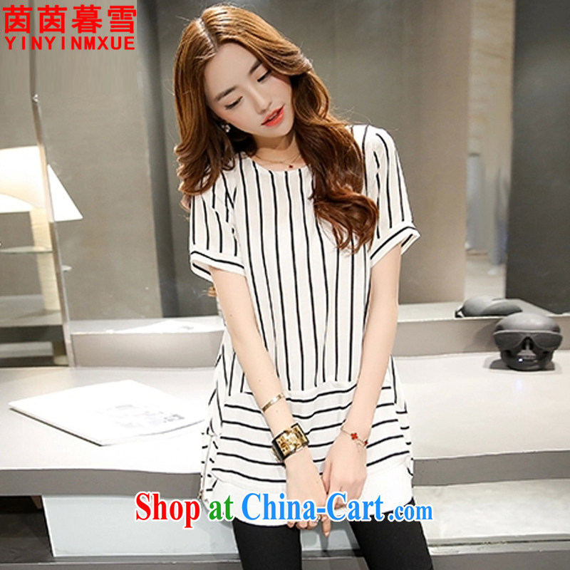 Athena Chu Yan and snow 2015 summer new, larger female, long, striped short-sleeved shirt T female DX 9121 white 4XL