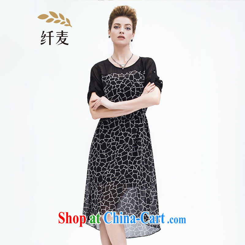 The Mak is the women's clothing 2015 summer new thick mm knocked color stitching snow woven short-sleeved dress 952103197 black 6 XL