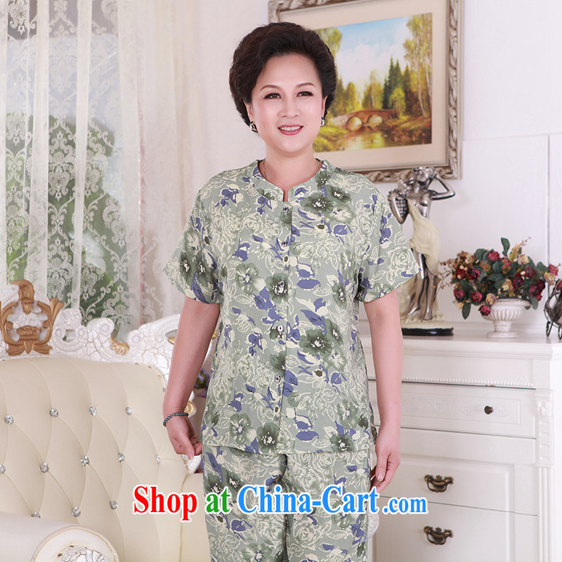 2015 new, older persons in long-sleeved clothes Women's kit in the summer older mothers the code really silk 4 color XXXL