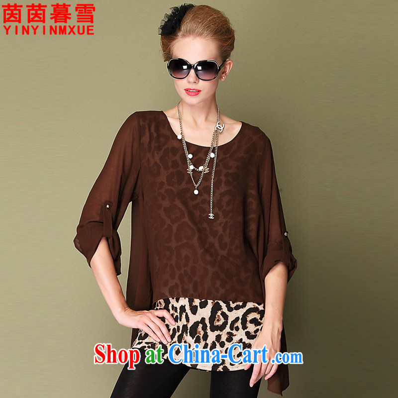 Yan Yan and snow 2015 summer new, larger female sexy Leopard stitching snow woven shirts female XFS 1915 brown XXXL