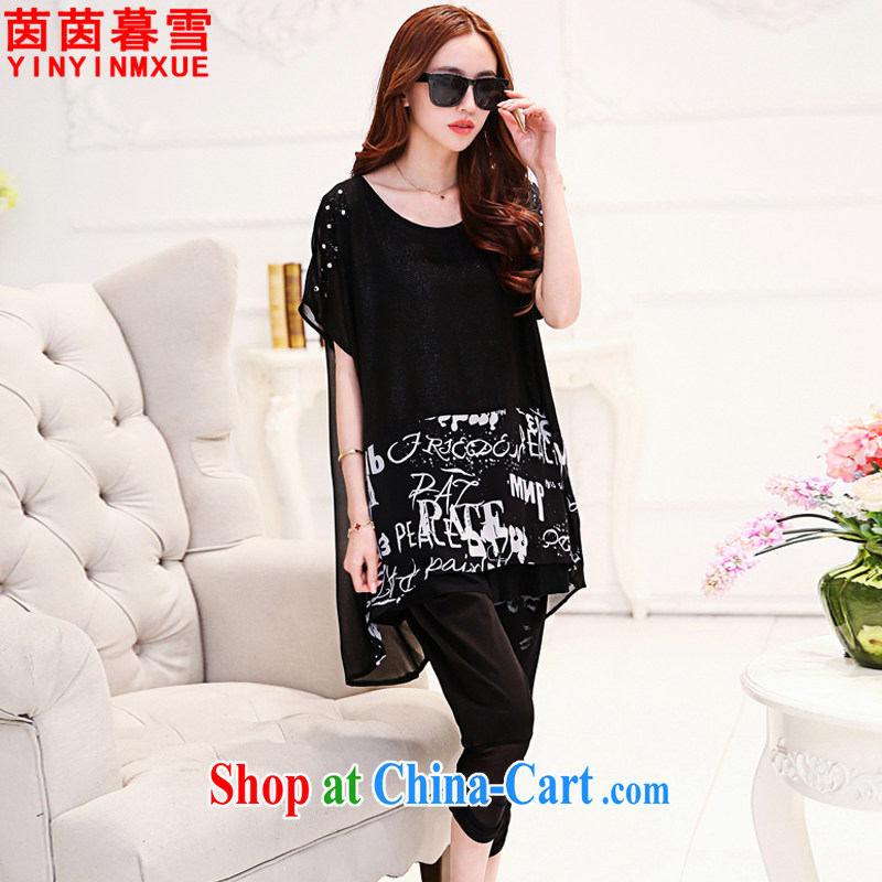 Yan Yan and snow 2015 summer new, larger female, long, cultivating short-sleeve and trouser press kit female TZ 9106 black XXXL