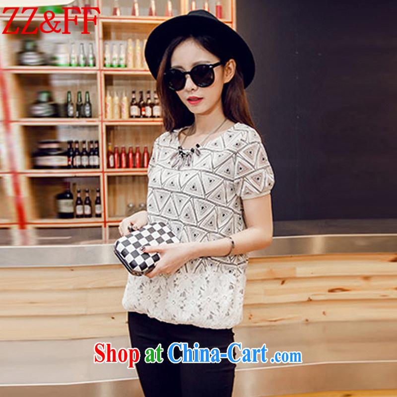 ZZ &FF 2015 summer new, larger female stylish Korean Beauty stamp round-collar short-sleeve shirt T female DX 6059 Map Color XXXXL