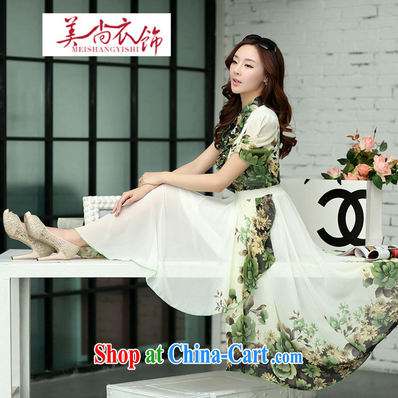 The US is still clothing 2015 spring and summer New Style bohemian long skirt video thin flouncing collar floral dresses beach skirts women's code light green XXL