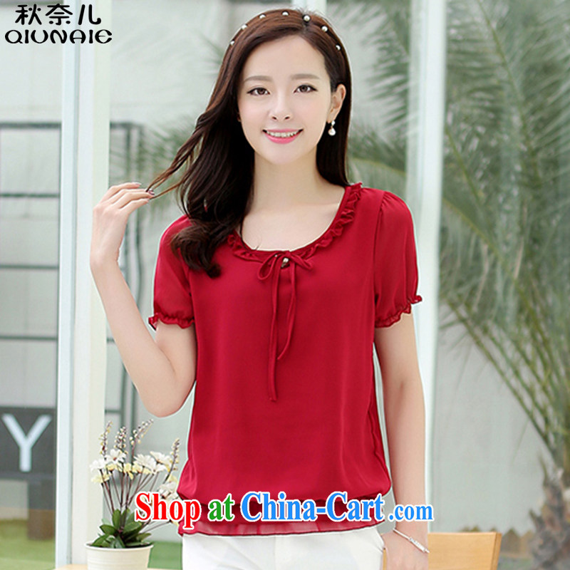 Autumn of 2015 children's new, larger female Korean round-collar flouncing graphics thin T-shirt short-sleeved snow woven shirts girls summer 352 wine red 4 XL